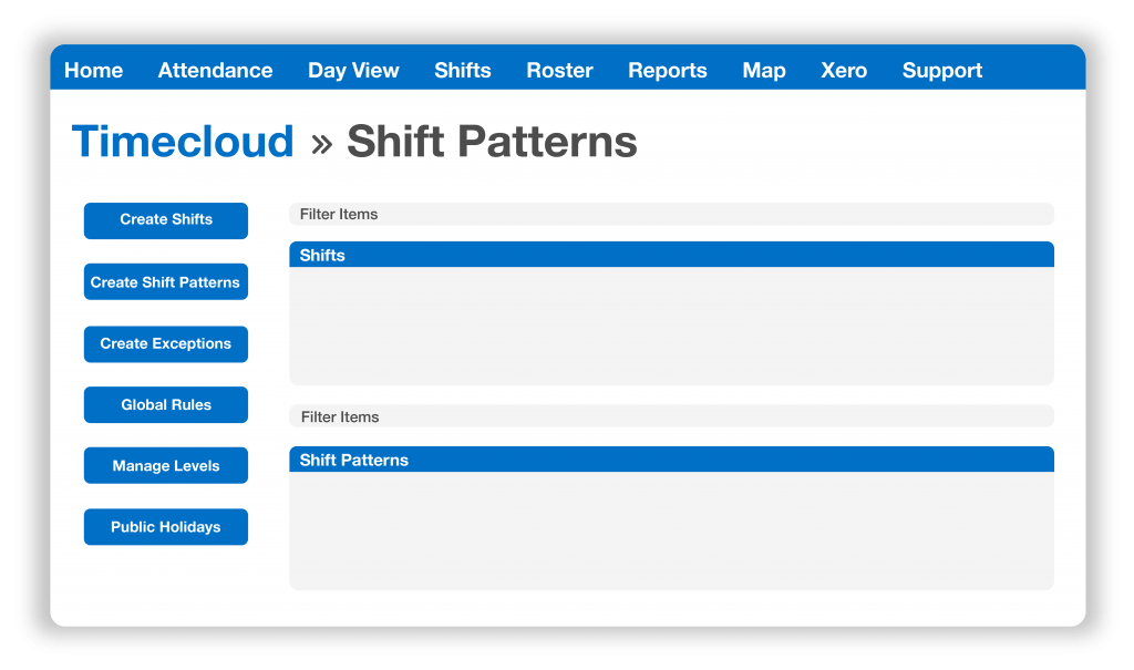 Timecloud Time and Attendance, Shift Patterns