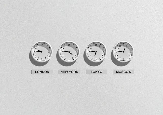 four clocks on a wall