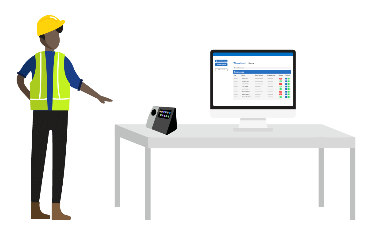 Timecloud Time and Attendance Manufacturing Illustration