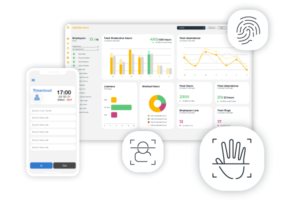 Timecloud Time and Attendance Suite with mobile and biometric clock in